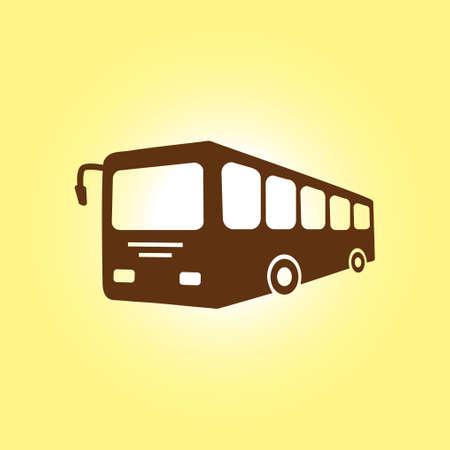 yellow schoolbus: Bus sign icon. Illustration