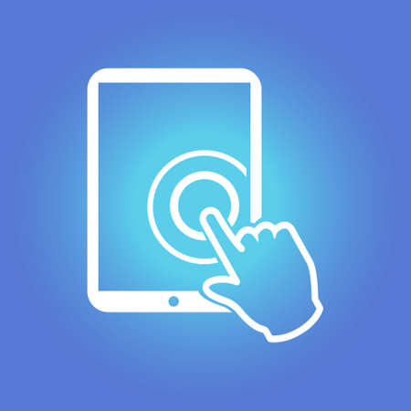 tablet pc in hand: Touchpad sign symbol.