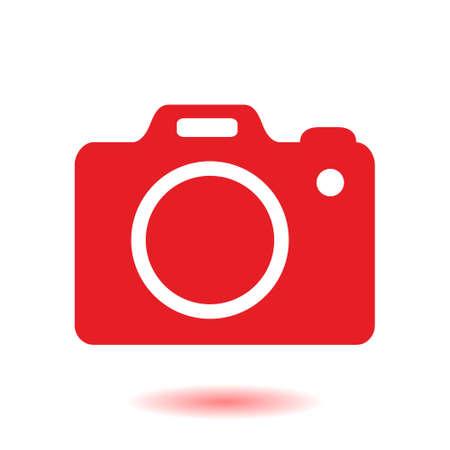 Fotocamerasymbool. DSLR camera teken pictogram. Digitale camera. Platte ontwerpstijl.