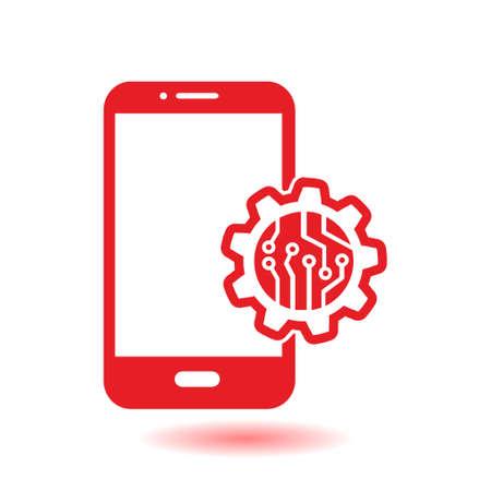 Microchip on smart phone icon. Illustration