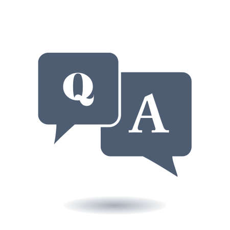 qa: Q&A sign symbol. Speech bubbles with question and answer.