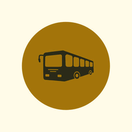 schoolbus: Bus sign icon. Public transport symbol. Flat design style.