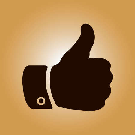 Like  icon. Hand finger up sign. Thumb up symbol. Flat design style. Illustration