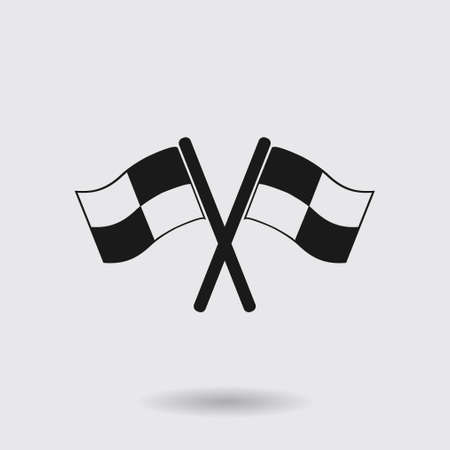 crossed checkered flags: Flag icon. Location marker symbol. ?heckered flags sign. Flat design style.