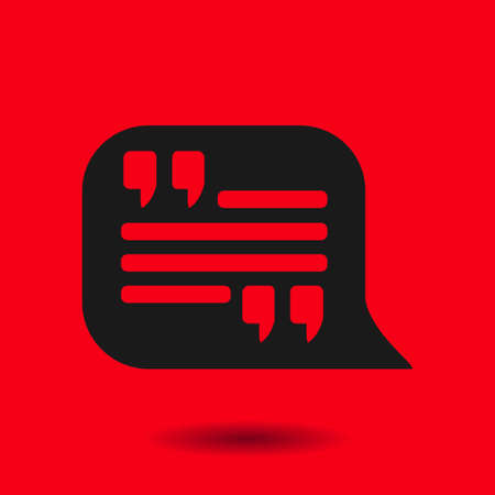 oration: Quote icon. Quotation mark in speech bubble symbol. Direct oration sign.