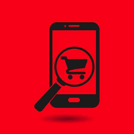 e shop: Glass searching for shoping on smart phone. Online shoping icon.