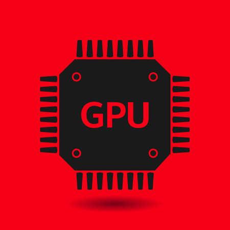 gpu: Circuit board  icon. Technology scheme square symbol. Flat design style. Illustration