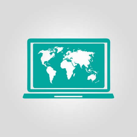 pc icon: Laptop and world map illustration. World map geography symbol.  Flat design style.