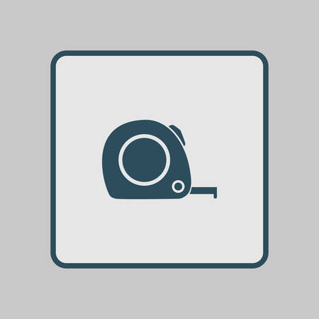 inches: Tape measure icon. Roulette construction  symbol. Dimensions and measurements. Create a cutting card.
