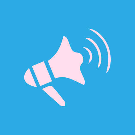 Megaphone soon icon. Loudspeaker symbol. News and Urgent ads.