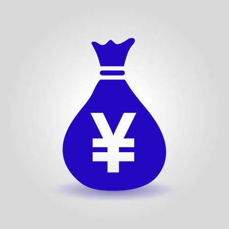 Yen JPY currency speech bubble symbol. Flat design style. Illustration