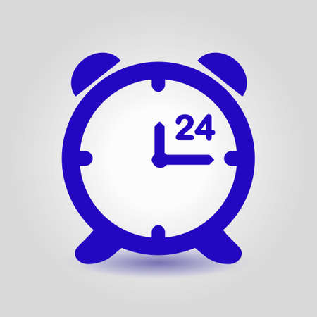 working hours: Open hours a day. Clock face. Flat design style.