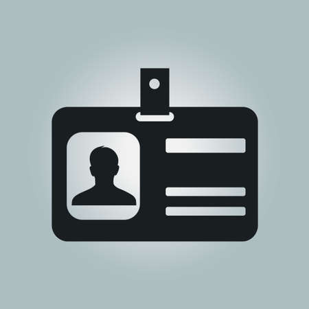 business card holder: Identification card icon. Conference participant badge. Flat design style.