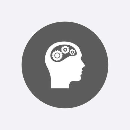 human face: Thinking icon.  Silhouette of gear in head. Flat design style. Illustration