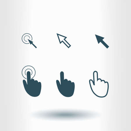 Cursor pointer icons. Click press and touch actions. Flat style.