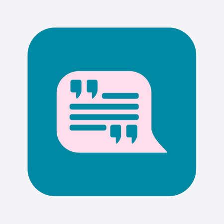 Quote Icon Quotation Mark In Speech Bubble Symbol Direct Oration Mesmerizing Quote Symbol