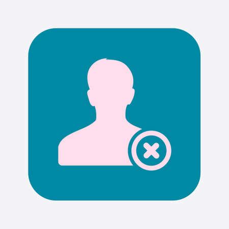 Remove  user sign icon. Remove friend symbol. Flat design style.