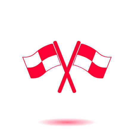 two crossed checkered flags: Flag icon. Location marker symbol. ?heckered flags sign. Flat design style.