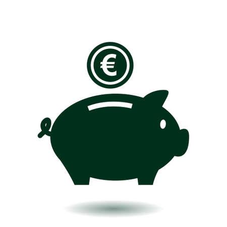 Piggy Bank-Symbol. Pictograph von Sparbüchse. Flaches Design.