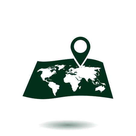 paper pin: Map with a pin icon. Map navigation symbol.