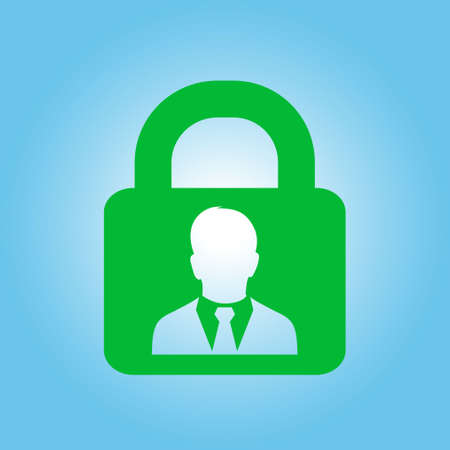 User login or authenticate icon. Flat design style.