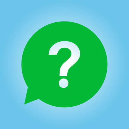 green issue: Question mark sign icon. Help symbol. FAQ sign. Flat design style.