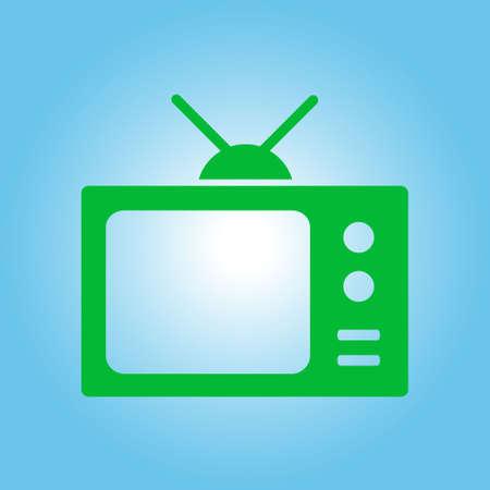 Tv icon. Flat design style. Icon of mass media.   Illustration