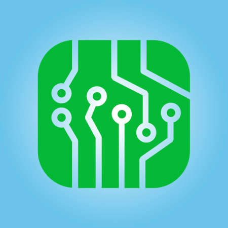 Circuit board  icon. Technology scheme square symbol. Flat design style. Illustration