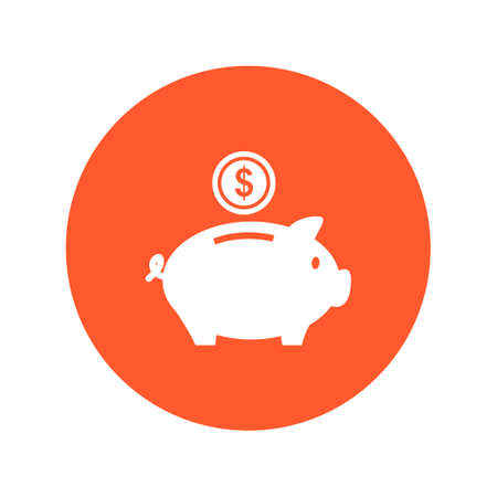 Piggy bank icon. Pictograph of moneybox. Flat design.