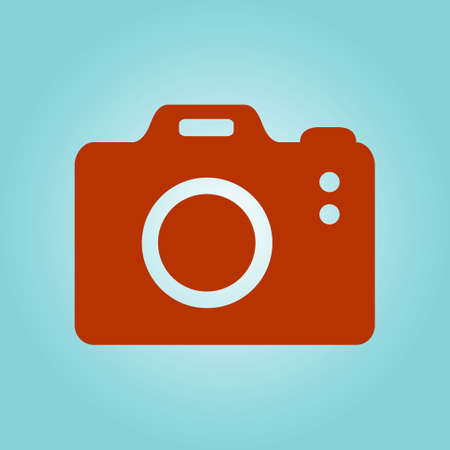 Photo camera symbol. DSLR camera sign icon. Digital camera. Flat design style.  Illustration