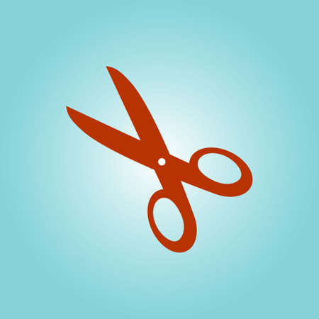 Scissors icon. Mark cut here. Flat design.
