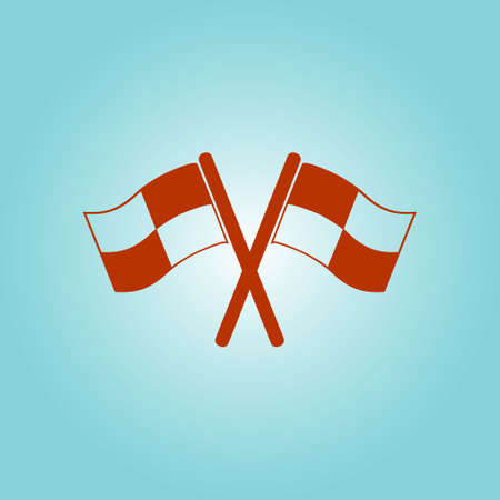 Flag icon. Location marker symbol. ?heckered flags sign. Flat design style.