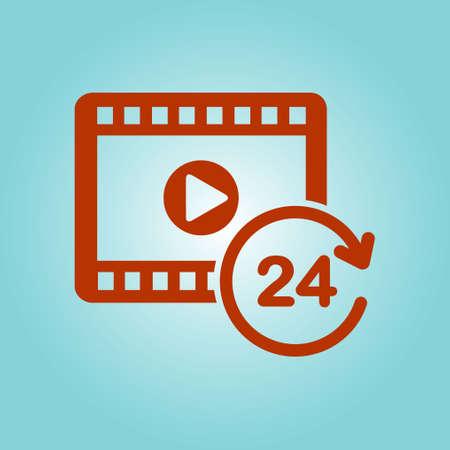 Streaming video symbol. Movie premiere. Live video Calendar.