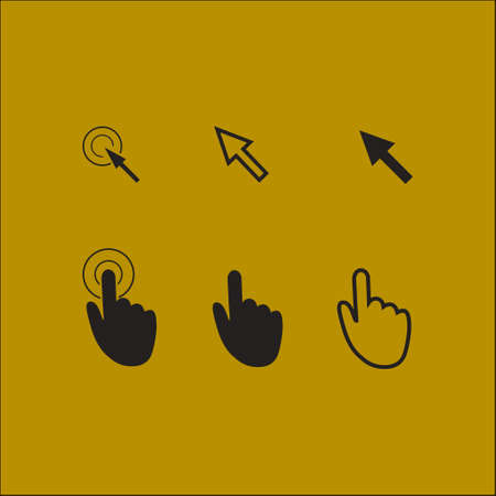 10 fingers: Cursor pointer icons. Click press and touch actions. Flat style.