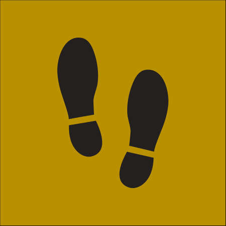 footwear: Black Imprint soles shoes icon. Flat design style.