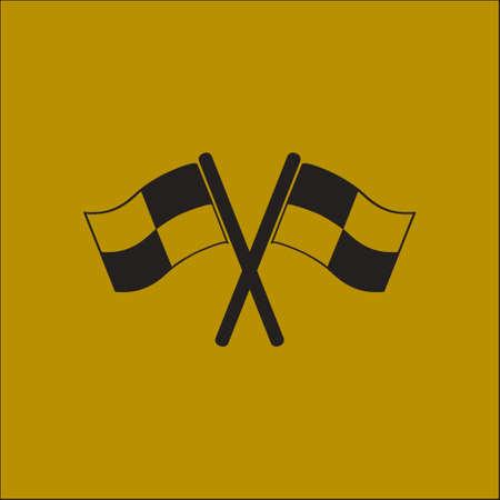 motorizado: Icono de la bandera. Símbolo marcador de ubicación. signo de las banderas heckered. Estilo de diseño plano.
