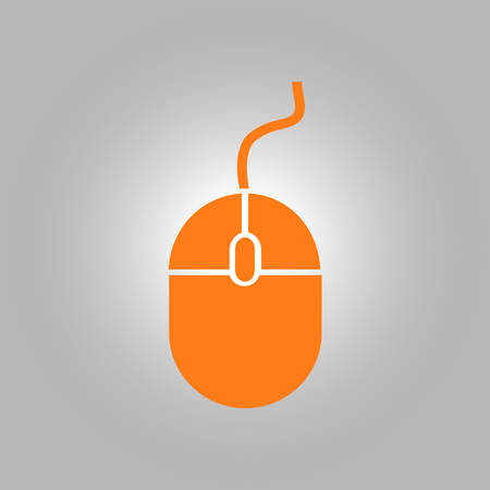 Icon of mouse. So, click the mouse. Flat design style.