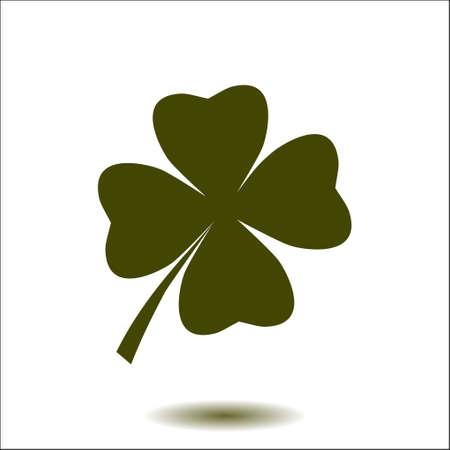 葉のクローバー印アイコン。聖パトリックのシンボル。生態学の概念。フラットなデザイン スタイル。  イラスト・ベクター素材