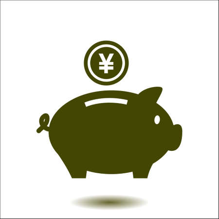 yen: Piggy bank icon. Pictograph of moneybox. Flat design.