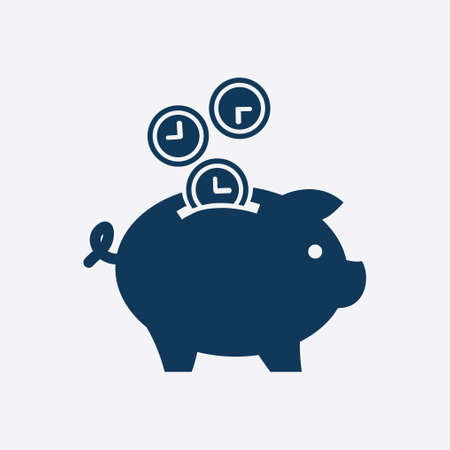 wealth management: Time is money piggy bank icon. Flat design style.