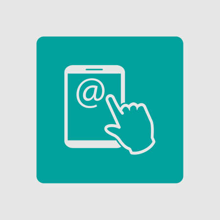 touchpad: Touch screen tablet PC sign icon. Hand pointer symbol.  Mail on Screen Tablet PC.