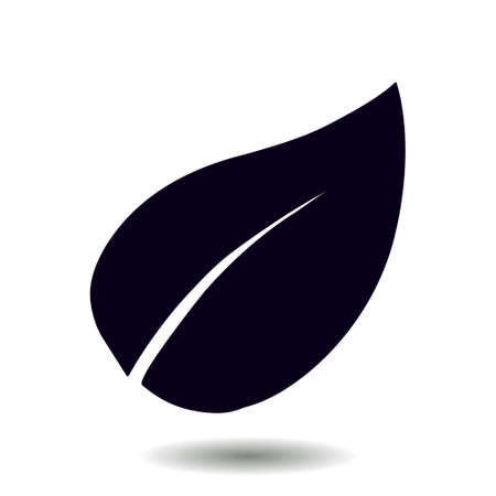 Leaf icon. Fresh natural product. Organic product symbol. Flat design style.