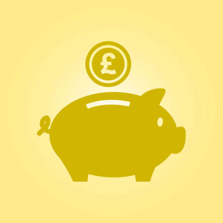 savings account: Piggy bank icon. Pictograph of moneybox. Flat design.