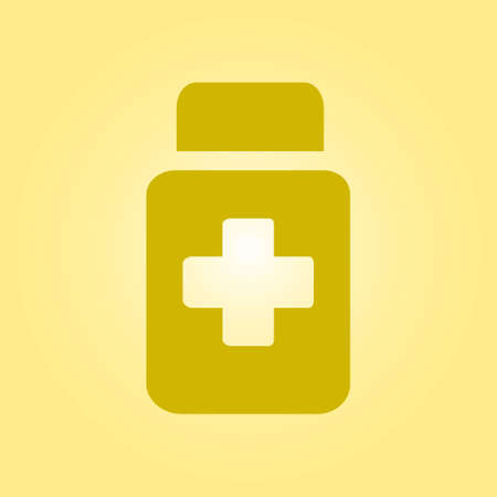 dosage: Drugs sign icon. Pack with pills. Flat design style.