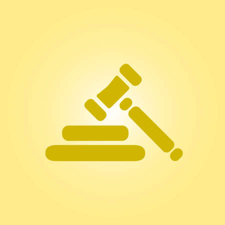 authority: Auction hammer pictogram. Law judge gavel icon. Flat design style. Illustration