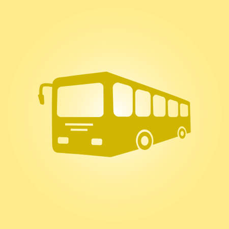 yellow schoolbus: Bus sign icon. Public transport symbol flat design style. Illustration