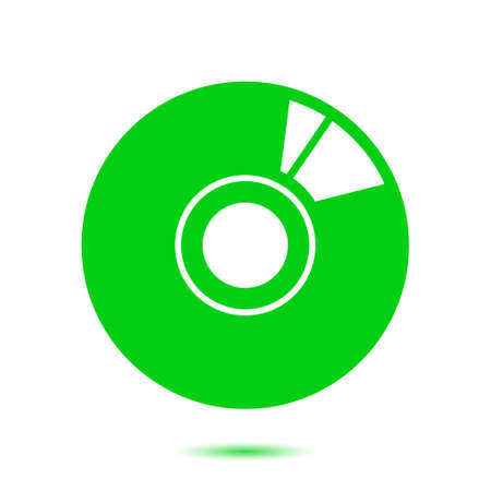 CD or DVD icon. Compact disk simbol. Flat design style. Illustration
