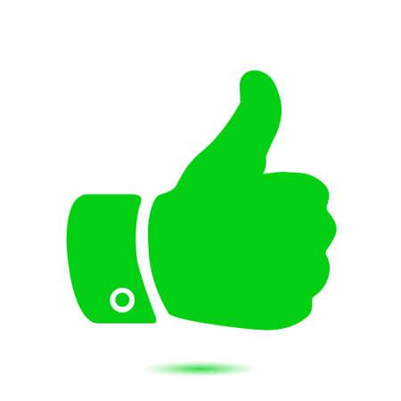 10 fingers: Like  icon. Hand finger up sign. Thumb up symbol. Flat design style. Illustration