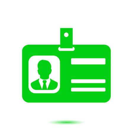 Identification card icon. Conference participant badge. Flat design style.