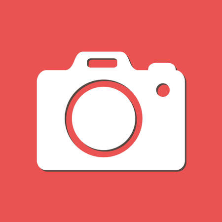Photo camera symbol. DSLR camera sign icon flat design style.